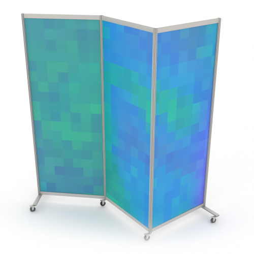Mobile partition curved wall with wheels